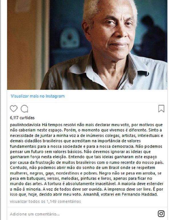 Paulinho da Viola é Haddad: não há futuro sem valores básicos - Gente de Opinião