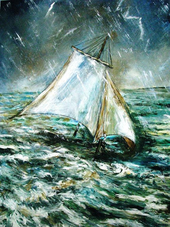 Quadro do Mestre Laurimar - naufrágio de Martius, 18.09.1819 - Gente de Opinião