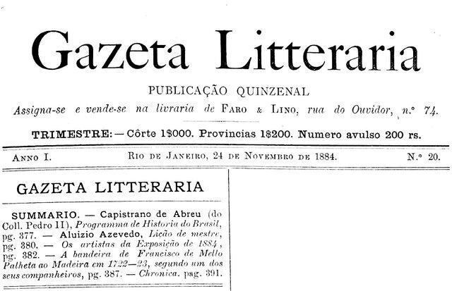 Gazeta Litteraria, n° 20, 24.11.1884 - Gente de Opinião