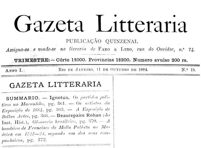 Gazeta Litterária, n° 19, 11.10.1884 - Gente de Opinião