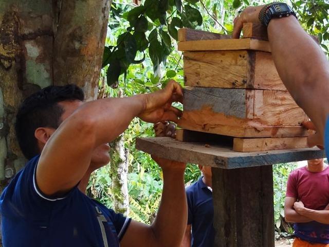 Comunitários aprenderam confecção de caixas de abelhas nativas (Foto: Carlos Gonçalves) - Gente de Opinião