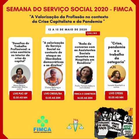 Fimca terá palestras online na Semana do Serviço Social - Gente de Opinião