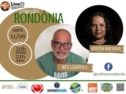 O músico Bira Lourenço e a documentarista Andréia Machado no Conexão Rondônia de hoje (11/06), quinta-feira.