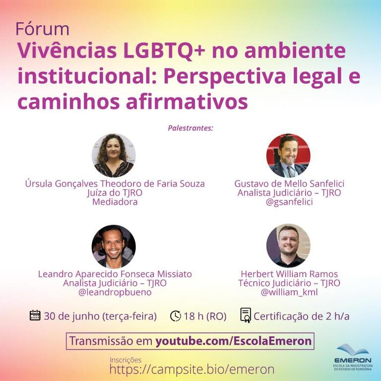 Emeron promove fórum online sobre a perspectiva legal e caminhos afirmativos para as vivências LGBT+ no ambiente institucional - Gente de Opinião