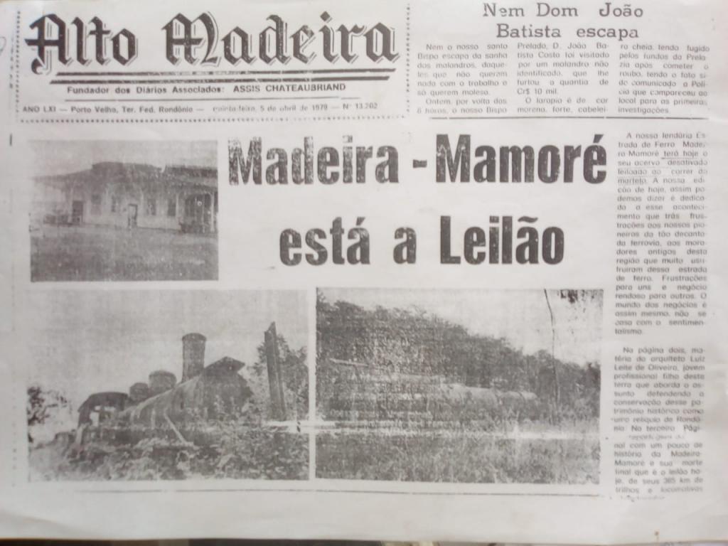 Em 1979 A MADEIRA MAMORÉ ESTÁ Á LEILÃO ainda era no regime militar. Esse Leilão foi suspenso, depois de uma mobilização popular em todo país, Manoel Rodrigues Ferreira... o que se diz hoje que era um tempo sinistro,  mas via-se uma luz no fim do túnel... veio o SEMINÁRIO MADEIRA- MAMORÉ, 1980: PROTEGER, TOMBAR,  REATRIVAR E INGTEGRAR. Um desafio trazer o trem de volta para os trilhos históricos da ferrovia do Diabo... 2019, 2020, Hoje, no pátio ferroviário, ocorre um leilão camuflado... autorizado por gestores, curadores, superintendes, leigos, de instituições ambientais ... autorizam oficialmente, a venda e a destruição, prefeitura de Porto Velho, e a organização de trapaceiros, chamada ASFEMM, que corta a maçarico peças ferroviárias históricas, são levadas para as fornalhas das siderúrgicas do centro sul.. - Gente de Opinião