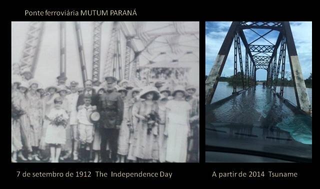 THE INDEPENDENCE DAY, 7 de setembro de 1912, autoridades brasileiras e convidados   norte americanos e ingleses, como estivessem na roadoay ou Champes Eliseé, visitam e percorrem os 366 km da ferrovia Madeira-Mamoré. Numa parada, as imagens sobre a Ponte de MUTUM PARANÁ, o engenheiro Jakill explica o visual de uma balança da bridge que se equilibra do rio Mutum, de um lado da ferrovia, está na maior RETA FERROVIÁRIA do mundo e cachoeira de Caldeirã do Inferno - hoje JIRAU. A partir da segunda década, entre 2007 a 2014, começa entre a gigantes, brigam  BILHONÁRIA por agua, a UNIÃO e as instituições de meio ambiente  IPHAM, SPU e as Curadorias do MPF e serviço Geológico do Brasil, e MPE permitem a elevação das COTAS,- transação escandalosa.... - Gente de Opinião