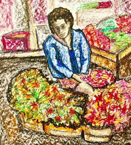 Vendedor de Primavera, lápis de cera sobre cartão (Viriato Moura) - Gente de Opinião
