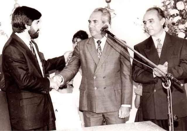 Governador Valdir Raupp de Matos, o Dr. Aldo Alberto Castanheira, e o médico Aparício Carvalho de Moraes. - Gente de Opinião
