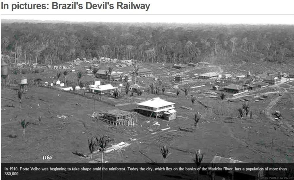 Porto Velho, em 1910, visão área de 180 °, provavelmente a primeira fotografia aérea de uma cidade do Brasil, foto de Dana Merril, foi também a primeira cidade planejada,  coberta totalmente, 100% com saneamento básica. Hoje, não tem 2%, como uma cidade africana. - Gente de Opinião