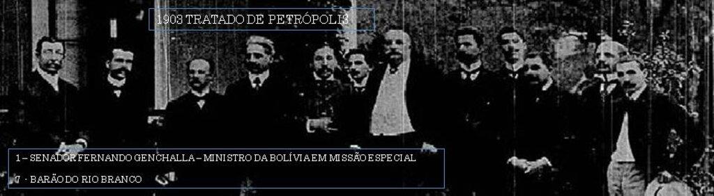 1903 - Brasil e Bolívia, assinam o Tratado de Petrópolis, ficou concretizada a aquisição (compra) do espaço boliviano para o Brasil. O acordo foi fechado por dois milhões de libras esterlinas e a construção da estrada de ferro Madeira-Mamoré, iniciada em 1907 e concluída em 1912. Acervo M.Portugues. - Gente de Opinião