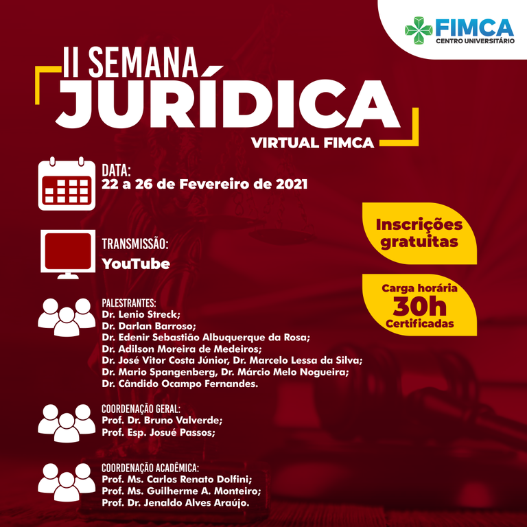 Vem ai a II Semana Jurídica Virtual do curso de Direito da FIMCA - Gente de Opinião
