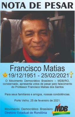 Nota de Pesar do MDB pelo falecimento de Francisco Matias
