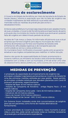 Nota de Esclarecimento do Governo de Rondônia sobre o abastecimento de oxigênio.