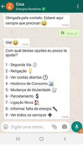 Atendimento pelo WhatsApp de RO é o terceiro mais acessado na Energisa - Gente de Opinião