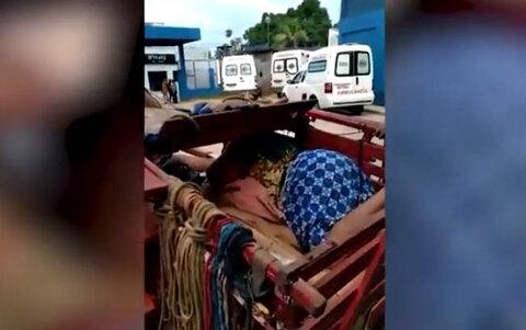 Ji-Paraná: sem ambulância, mulher com covid-19 chega ao hospital de carroça