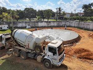 Saneamento avança em Ariquemes: empresa de saneamento conclui a primeira etapa de construção do novo reservatório de água tratada - Gente de Opinião