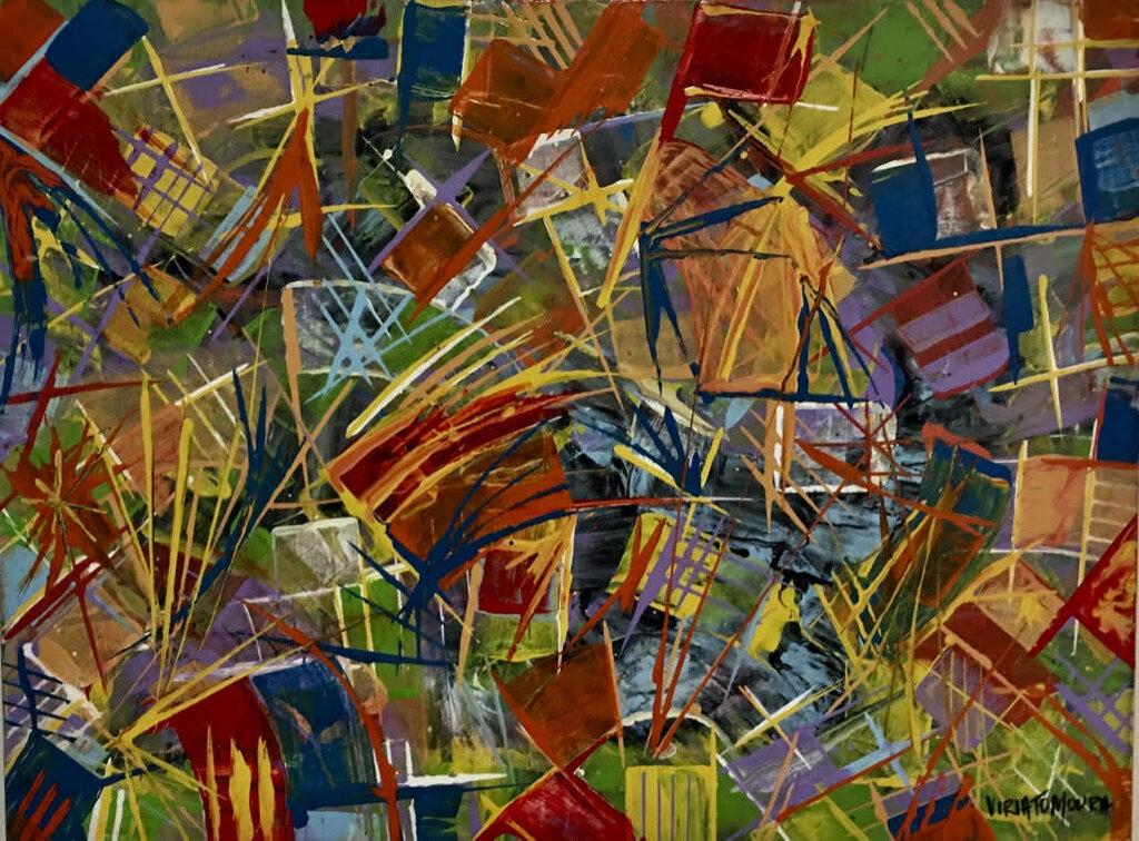 Manisfestação Multicolorida, acrílica sobre tela (Viriato Moura) - Gente de Opinião
