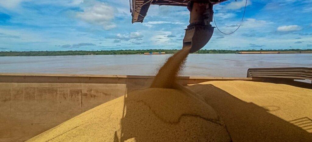 Transbordo de soja para tipo de barcaça que trafega pela Hidrovia do Rio Madeira - Gente de Opinião