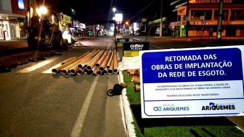 Ariquemes: avenida Canaã recebe obras de esgotamento sanitário