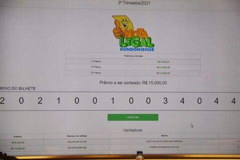 Governo realiza primeiro sorteio trimestral do programa Nota Legal Rondoniense; vencedores dividem prêmio de R$ 30 mil